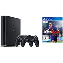 PlayStation 4 - Konsole (500GB, schwarz, slim) inkl. 2. DualShock Controller + PES 2018