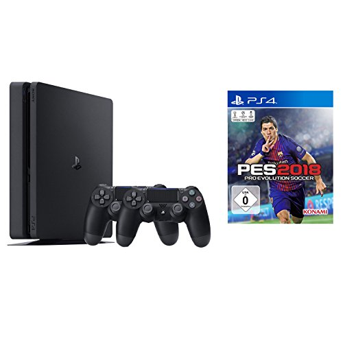 PlayStation 4 – Konsole (500GB, schwarz, slim) inkl. 2. DualShock Controller + PES 2018