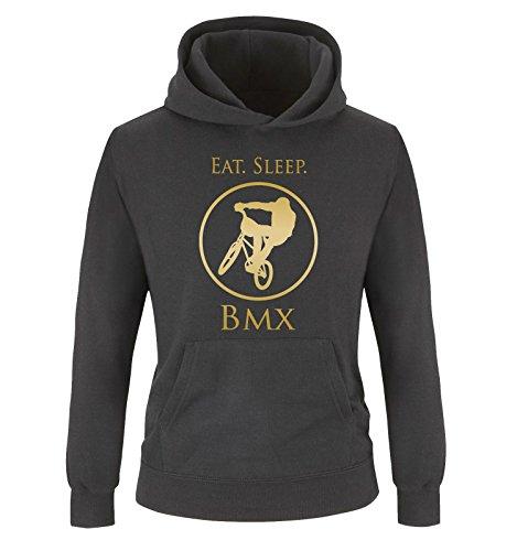 Comedy Shirts - EAT. Sleep. BMX - Kinder Hoodie - Schwarz/Gold Gr. 152/164