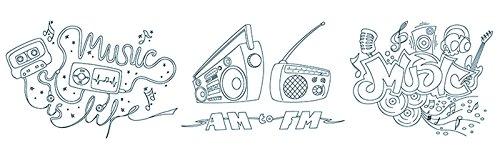 Securit Musik Thema Fenster Schablonen inkl. Kreide Marker, Weiß, Größe A2, Set von 3