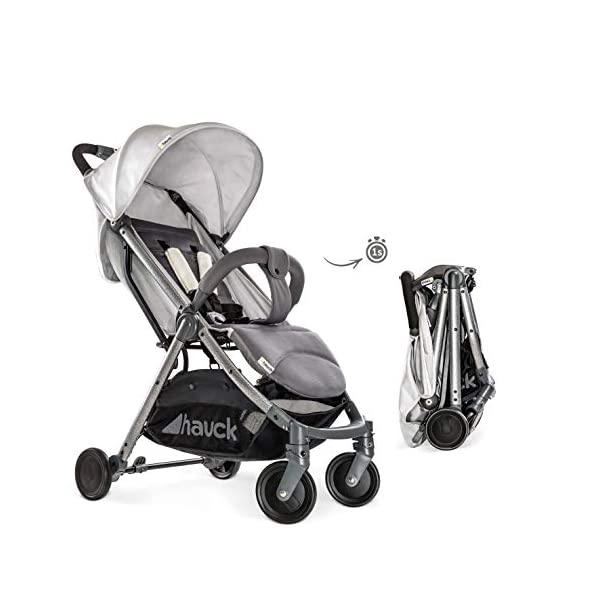Hauck Swift Plus, Compact Pushchair with Lying Position, Extra Small Folding, One Hand Fold, Lightweight, Carrying Strap, from Birth Up To 15 kg, Lunar Hauck Our smallest comfort stroller Extra small and fast folding with one hand Extremely light - easy to carry over the shoulder 4