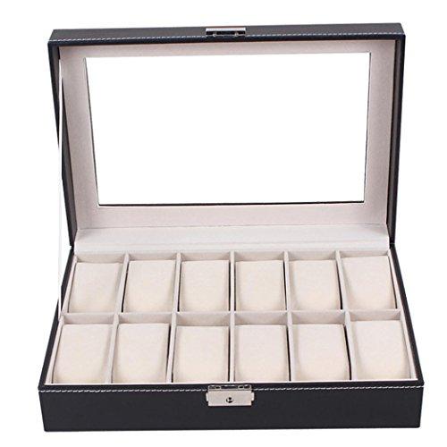 Ihee vintage grande orologio display case Jewelry Box, in vetro trasparente 12schede Total Storage cuscini