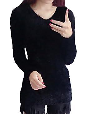 Las Mujeres Jerséis De Punto Mohair Otoño Invierno Suéter Tops Basic Ropa De Manga Larga V Cuello Pullover Elegante...