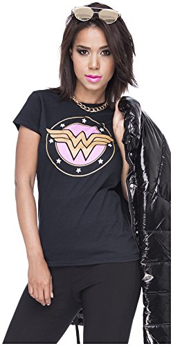 Loomiloo Tshirt Wonderwoman Damen Shirt Wonder Woman T-Shirt Superwoman Superhelden Comics Halloween Kostüm Karnevalskostüme Karneval Fasching S