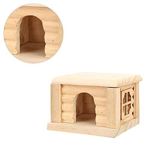 Irahdbowen nido di criceto fatto a mano durevole in legno criceto casa nido inodore non tossico capanna di legno castello piccolo gioco di animali giocattolo da masticare