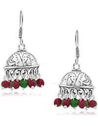 Spargz Classic Red & Green Bead Oxidized Silver Long Jhumki Earrings For Women AIER 658