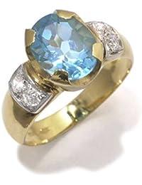Gioie Bague Femme en Or 18 carats Blanc/Jaune avec Topaze Bleu et Zircon Blanc