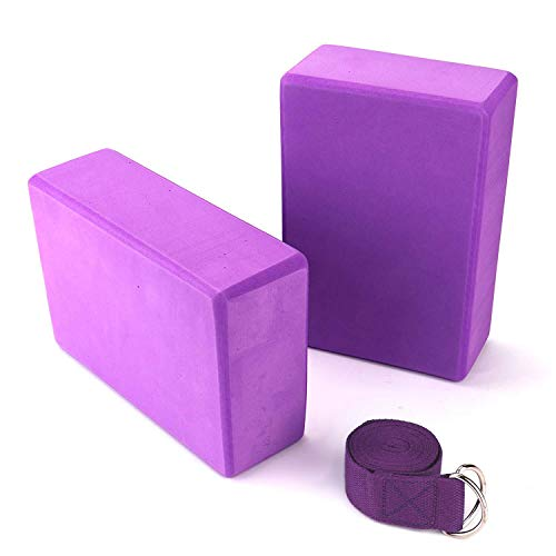 Tebery 2er Set Yoga Blöcke/Yogablock/Yoga-Block mit 1 Stück Yogagurt für Blockaden Training Dehnübungen Anfänger und Fortgeschrittene (Lila)