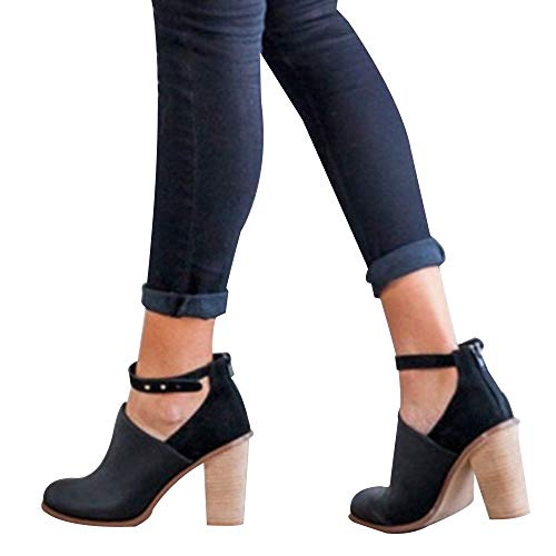 OSYARD Online Damenmode,Stiefeletten Ankle Stiefel Damen Leder Ein Wort Schnalle Schwarz, Mode Frauen Schnalle Schuhe Flacher Mund Einzelne Boots Starke Ferse Flandell (250/41, Schwarz)