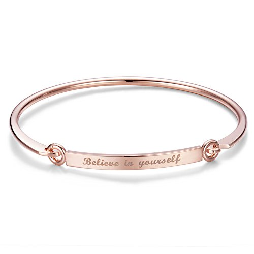 Sweetiee bracciale da donna incisione believe in yourself -credi sempre in te stessa 18k placcato oro rosa, 185mm