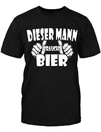 Dieser Mann Braucht Bier T-Shirt Herrentag Fun Shirt Sprüche Sommer Party Kult