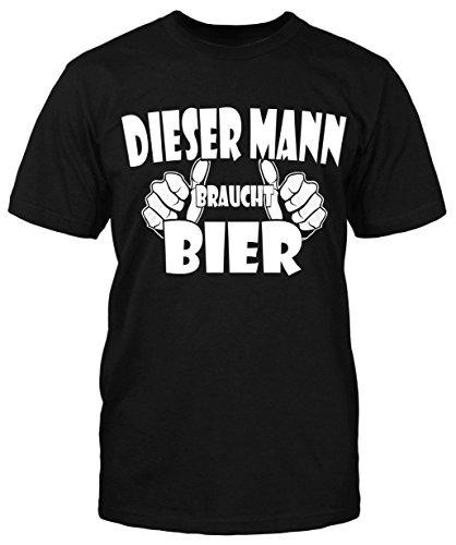 Dieser Mann Braucht Bier T-Shirt Herrentag Fun Shirt Sprüche Sommer Party  Kult Schwarz