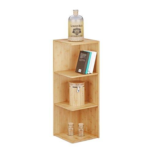 Bambus-ecke (Relaxdays Eckregal Bambus, 3 Ablagen HxBxT: 85,5 x 29 x 29 cm, Bücherregal, Küchenregal, Aufbewahrung, Lagerung, natur)