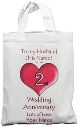 Personalised - 2nd Wedding Anniversary to my Husband - Small Natural Cotton Gift Bag