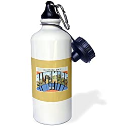 3dRose wb_170081_1 Greetings from Baltimore Maryland Scenic Postcard Reproduction Sports Water Bottle, 21 oz, White