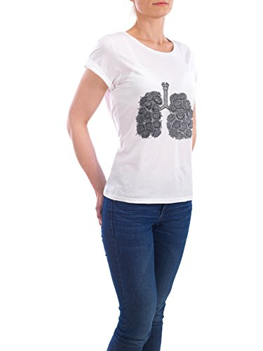 "Design T-Shirt Frauen Earth Positive ""Lungs with peonies"" - stylisches Shirt Abstrakt Floral Menschen von Valeriya Korenkova Weiß"