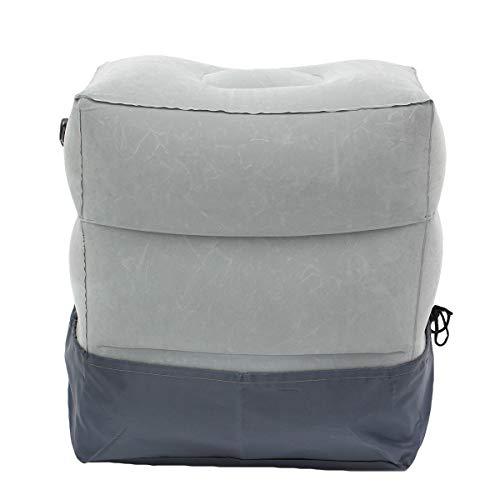 Fußstütze Reisekissen Aufblasbares Kissen mit Tasche für Kinder/Erwachsener zum Hinlegen oder Schlafen bei Langstreckenflügen (Grau, 30 * 40 * 43cm)
