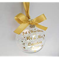 Personalised Bauble - First 1st Christmas as Mr & Mrs/Mr & Mr/Mrs & Mrs