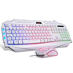 Gaming-Tastatur und Maus Set USB Wired Weiß Computertastatur 7 Farben LED Rainbow Tastatur für PC Laptop PS4 {UK Layout}