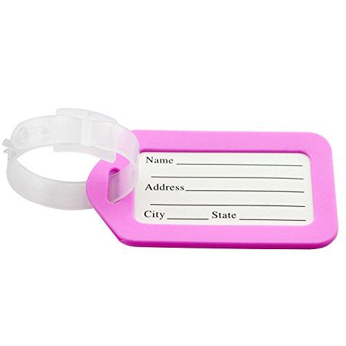 jcbiz Gepäck ID-Tags mit Transparent Trägern Reisen Zubehör Candy Farbe Kunststoff Gepäck, Label Koffer Name Adresse Tags -, rose (Rose Gepäck-tags)