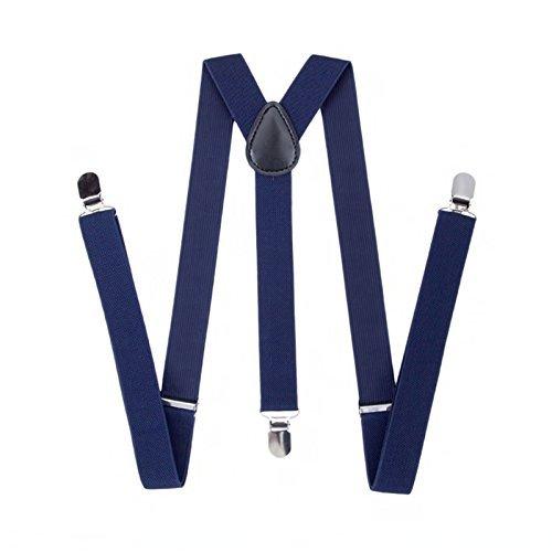 Trimming Shop 35mm Hommes Bretelles en Couleurs Classiques - Résistant à Clipser Bretelles - Entièrement Réglable et àÉlastique - Bleu marine, 35mm