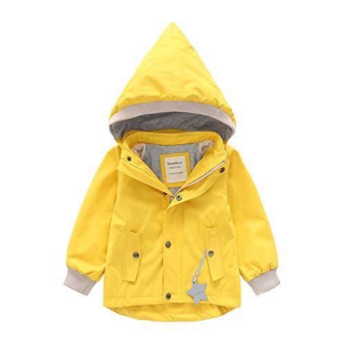 Deloito Kleinkind Baby Regenjacke Kinder Mädchen Windbreaker Jungen Winterjacke Cartoon Tier Kapuzenjacke Mantel Winddichte Outwear Outfits (Gelb,90/12-18 M)