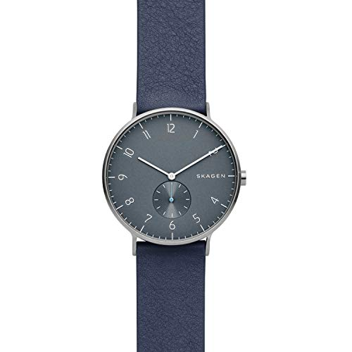 Skagen Herren Analog Quarz Uhr mit Leder Armband SKW6469