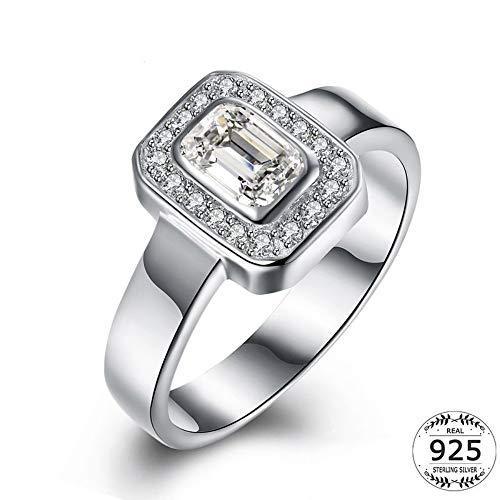 SSLL Ringe für Geometrischer Quadratischer Ring Aus 925Er Sterlingsilber Mit Zirkonia - Einzelstein - Ring Weiblich, 7