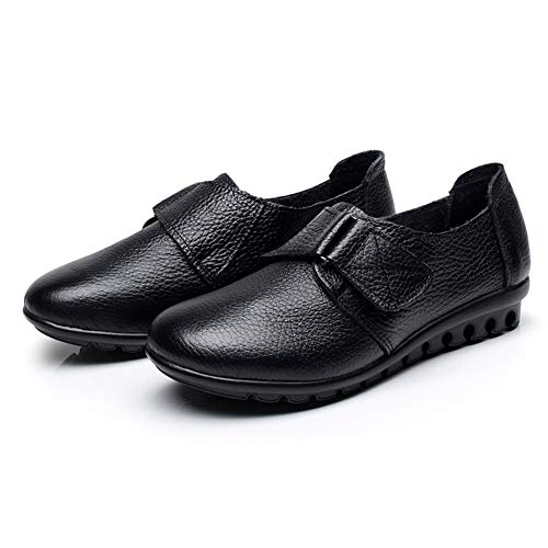 Kuh-leder-low-cut (Frau MüßIggäNger Kuh Lederschuhe Low-Cut Flats Casual Lace-Up Damen Soft Bottom Solid Oxfords)