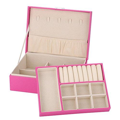 Halskette Schmuck-Box, Hohe Kapazität Schmuck Ohrringe Ringe Armband Halskette Box Organizer Lagerung Leder Schmuckkasten für Reisen (Rose Red)