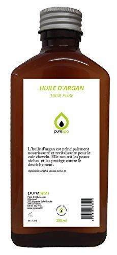 Huile végétale d'ARGAN, 100% PURE - 250ml PURESPA BY PURENAIL soin du cheveu, du visage et de la peau