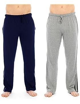 Conjunto de pantalones largos de pijama para hombre, 2 unidades, lisos, incluye calcetines largos