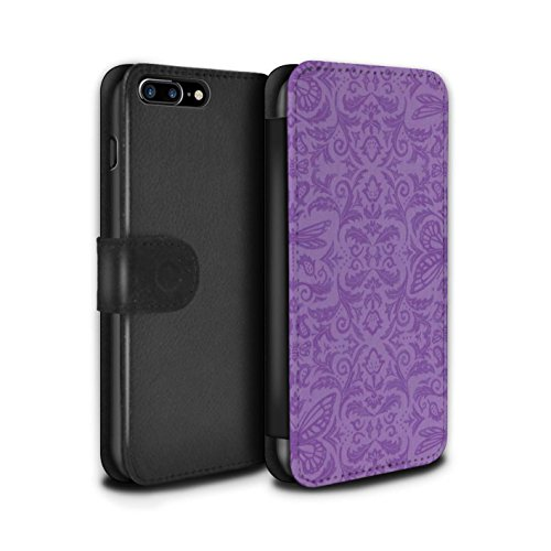 Stuff4 Coque/Etui/Housse Cuir PU Case/Cover pour Apple iPhone 7 Plus / Noir / Blanc Design / Motif médaillon Collection Pourpre