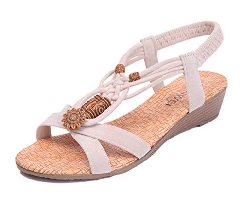 Dayiss Damen Keilabsatz Sandalen Römersandalen Riemchen Strandschuhe Sommer Schuhe Weiß