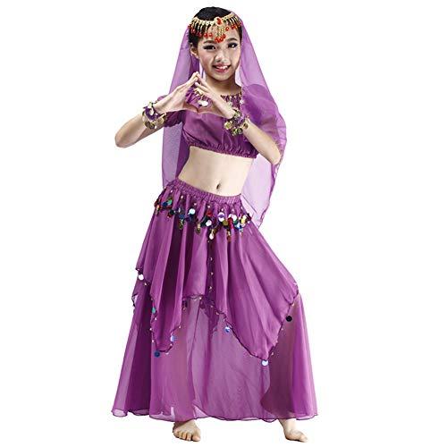 JIE. Kinder Bauchtanz Kostüm 2019 Indian Dance Girls üben Kleidung Anzug Frühling und Sommer Farbe Kleid,Purple,S