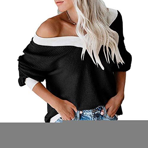 LOPILY Strick Pullover Damen Schulterfreie Pulli Farbblock Oberteil mit Waffel Knitting Elegant Sexy Strickshirts Damen Freizeit Langarm Strick Oberteile Damen Off Shoulder Pulli Herbst (Schwarz, 36) -