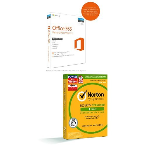Microsoft Office 365 Personal - 1 PC/MAC - 1 Jahresabonnement + SYMANTEC Norton Security Standard (1 Gerät - PC, Mac, Smartphone, Tablet)