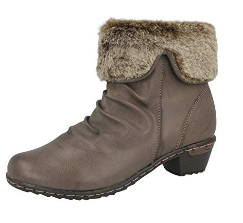 Pelz-trim Stiefel (Foster Footwear Damen Kurzschaft Stiefel)
