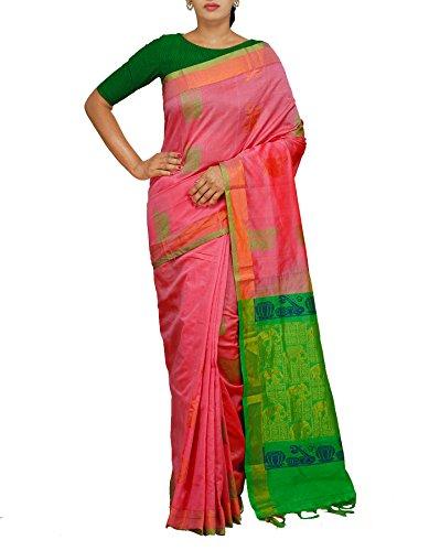 Unnati Silks Women Pink-Green Handloom Uppada Kuppadam Silk Cotton Pattu Saree With...