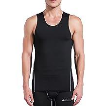 AMZSPORT Camiseta de compresión sin mangas para hombre Deportes de Secado Rápido Baselayer Funcionamiento Tirantes BX01 L