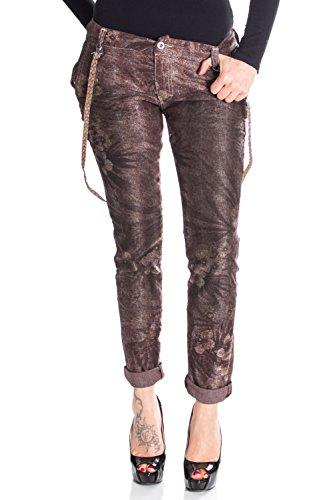 P16 Jeans Damen Hosen Baggy m braun