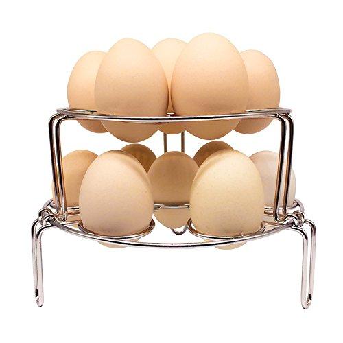 Amaoma 2 Stück Steamer Rack, 304 Edelstahl Doppel-Dampf-Rack, Edelstahl Faltbare Gedämpfte Eierkocher für Schnellkochtopf und Instant Pot Küche Kochen Dämpfen Halter Rack Ständer Set (Silber)