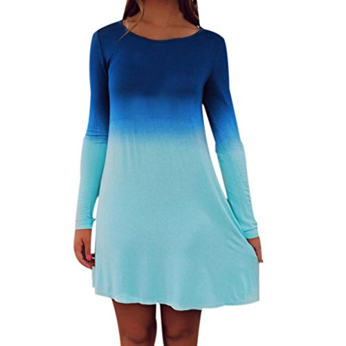 Minikleid Damen, Sunday Womens Long Sleeve Casual Lose Farbverlauf Kurzen Mini Dress Frühling Sommer Herbst Baumwolle Blau Beiläufige Freizeit Kleid (Blau, EU 40) (Baumwolle Solide Muster)