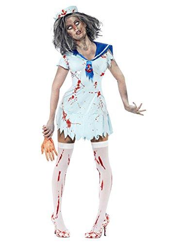 Horror Zombie Sailor Matrosin Halloween Damenkostüm hellblau L