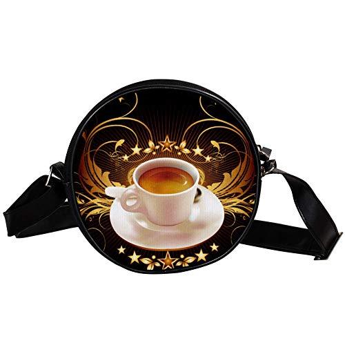 Bennigiry Kaffeetasse runde Umhängetasche, Handtasche für Teenager, Mädchen und Frauen -
