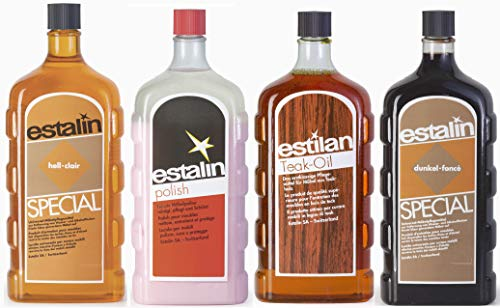 Estalin Special Set 4 X 250 Ml Each Special Light Dark Teak Oil Polish Cleaning And Care Of Wood Furniture And Surfaces