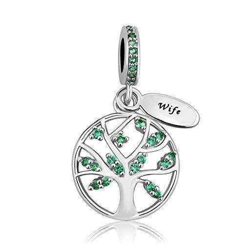 Korliya - pendente per braccialetti con albero genealogico della vita e rame, colore: green, cod. emw_dpc_fa504_x05