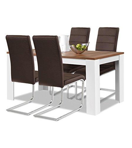 Agionda® Esstisch + Stuhlset : 1 x Esstisch Toledo 120 Nussbaum / Weiss + 4 Freischwinger braun