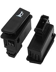 sourcingmap® Interruptores Claxon 2 piezas Negro botón momentáneo 2 perno montaje DC 12V