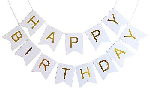 CoolChange Hochwertige Geburtstag Deko Girlande, Happy Birthday, Farbe: Weiß